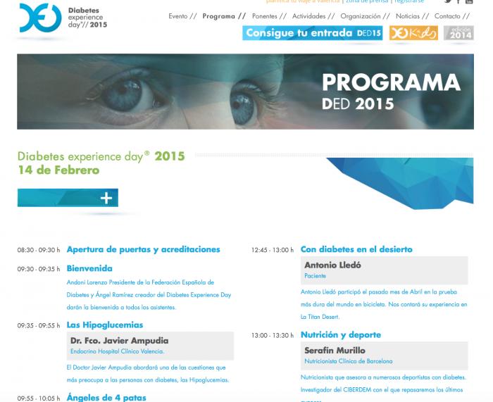 El programa oficial del Diabetes Experience Day 2015